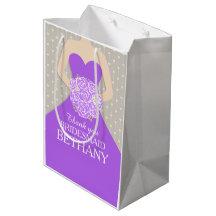 Custom name wedding bridesmaid dress purple bag medium gift bag
