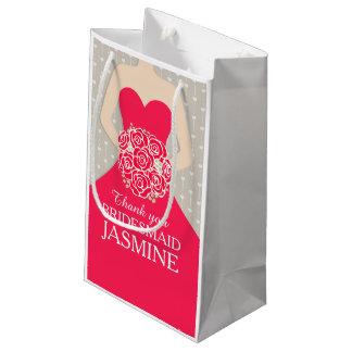 Custom name wedding bridesmaid dress red bag