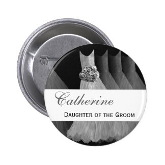 Custom Name Wedding Role Feminine Silver Gowns 6 Cm Round Badge