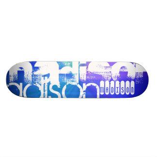Custom Name; White & Abstract Purple, Green, Blue Custom Skateboard