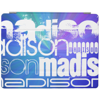 Custom Name; White & Abstract Purple, Green, Blue iPad Cover