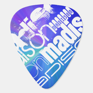 Custom Name; White & Abstract Purple, Green, Blue Plectrum
