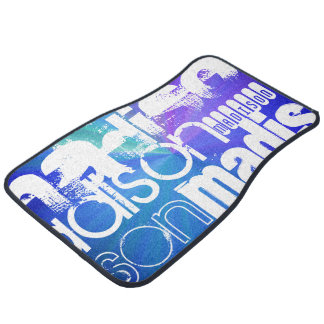 Custom Name; White & Abstract Purple, Green, Blue Car Mat