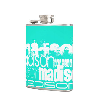 Custom Name, White and Neon Aqua Turquoise Hip Flask