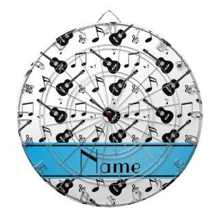Custom name white black guitars music notes dartboard