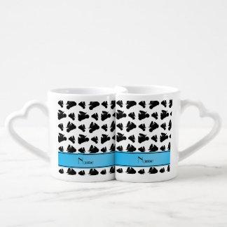 Custom name white black motorcycle racing lovers mug
