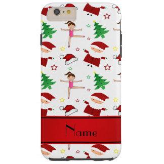 Custom name white christmas gymnastics santas iPhone 6 plus case