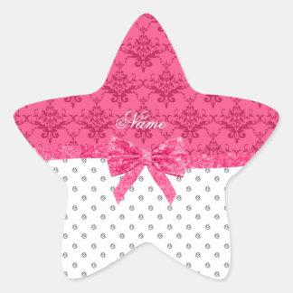 Custom name white diamonds pink damask bow star stickers