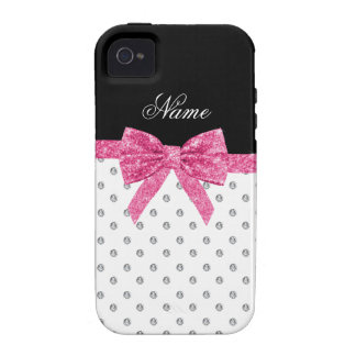 Custom name white diamonds pink glitter bow iPhone 4 covers