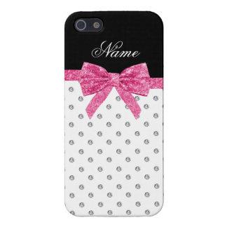 Custom name white diamonds pink glitter bow iPhone 5/5S cover