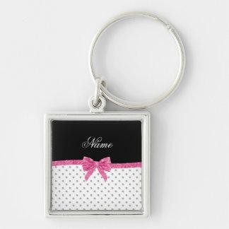 Custom name white diamonds pink glitter bow key ring