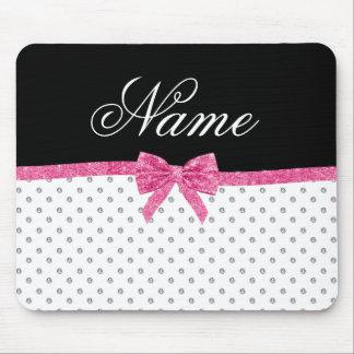 Custom name white diamonds pink glitter bow mouse pad