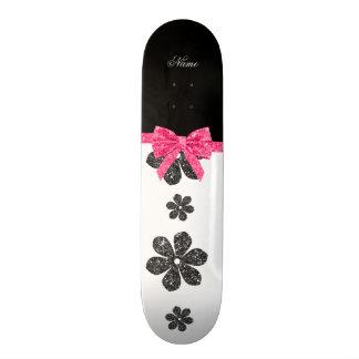Custom name white glitter flowers pink bow skate deck