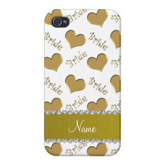 Custom name white gold bride hearts iPhone 4/4S cover
