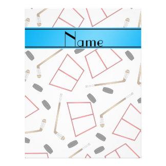 Custom name white hockey sticks pucks nets 21.5 cm x 28 cm flyer