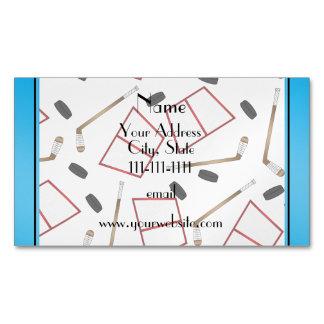 Custom name white hockey sticks pucks nets magnetic business cards