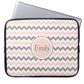 Custom Name White Pink Grey Chevron Laptop Sleeve