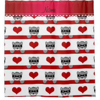 Custom name white raccoons red hearts stripes shower curtain