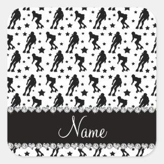 Custom name white roller derby stars square sticker