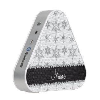 Custom name white silver snowflakes black stripe speaker