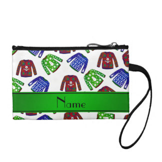 Custom name white ugly christmas sweater pattern coin wallets