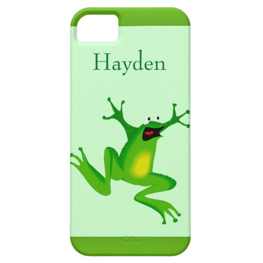 Custom Name Wild Cartoon Jumping Frog Green iPhone