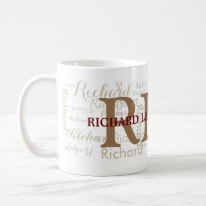 custom name with initials personalised monogram coffee mug