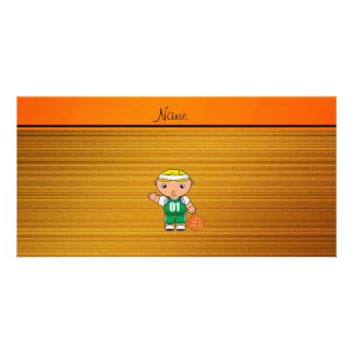 Custom name wood grain basketball player picture card