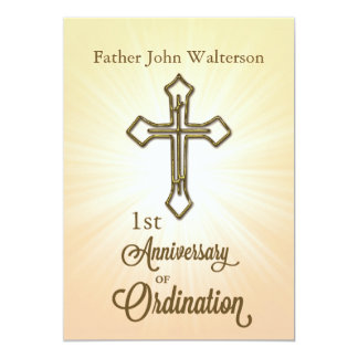 Custom Name & Year, 1st Anniversary of Ordination Card