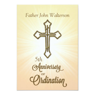 Custom Name & Year, 5th, Anniversary of Ordination Card