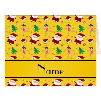 Custom name yellow christmas gymnastics santas big greeting card