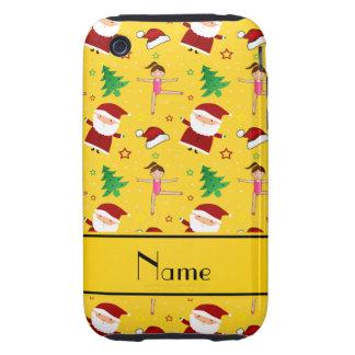 Custom name yellow christmas gymnastics santas tough iPhone 3 covers