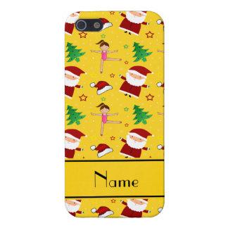 Custom name yellow christmas gymnastics santas iPhone 5 case