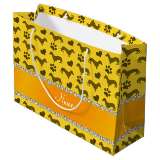 Custom name yellow dachshunds hearts paws large gift bag