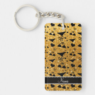 Custom name yellow glitter bikini bows Double-Sided rectangular acrylic key ring