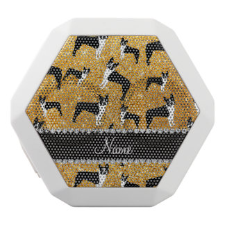 Custom name yellow glitter boston terrier white boombot rex bluetooth speaker