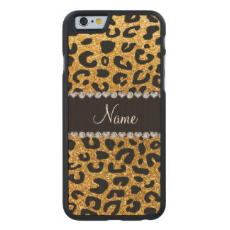 Custom name yellow glitter cheetah print carved maple iPhone 6 case
