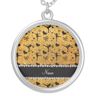 Custom name yellow glitter figure skating pendants