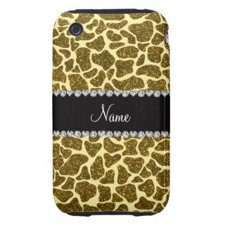 Custom name yellow glitter giraffe tough iPhone 3 cover