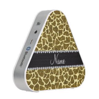 Custom name yellow glitter giraffe speaker