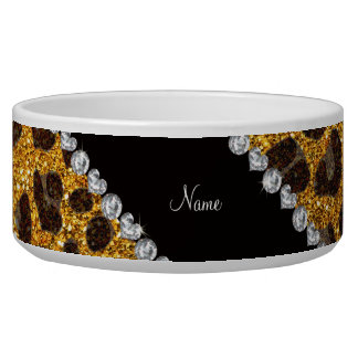 Custom name yellow glitter leopard print