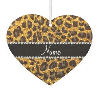 Custom name yellow glitter leopard print car air freshener