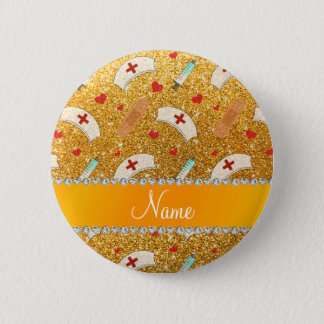 Custom name yellow glitter nurse hats heart 6 cm round badge