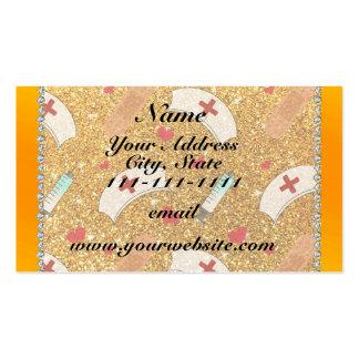 Custom name yellow glitter nurse hats heart pack of standard business cards