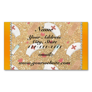 Custom name yellow glitter nurse hats heart magnetic business cards