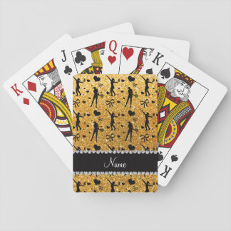Custom name yellow glitter tennis hearts bows playing cards