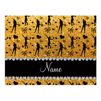 Custom name yellow glitter tennis hearts bows postcard