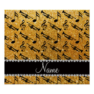 Custom name yellow glitter trumpets music notes posters