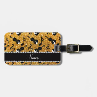 Custom name yellow glitter violins music notes luggage tag