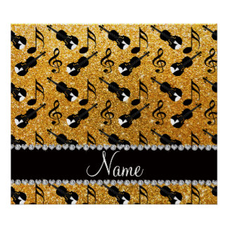 Custom name yellow glitter violins music notes poster